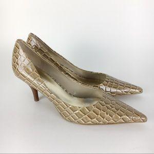 Nine West Crocodile Pointed Toe Low Heels Size 6
